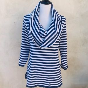 Bloomingdale's Striped Cowl Knit Tunic Top EUC